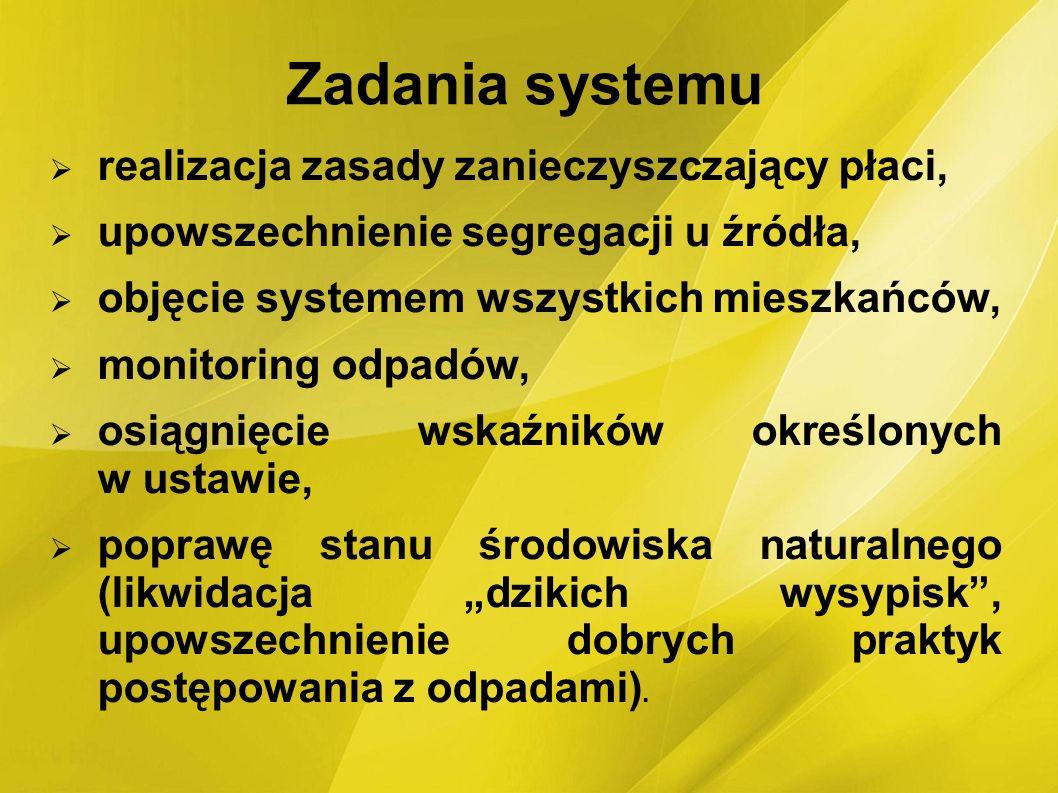 Zadania systemu realizacja zasady zanieczyszczający płaci, upowszechnienie segregacji u źródła, objęcie systemem wszystkich mieszkańców, monitoring od