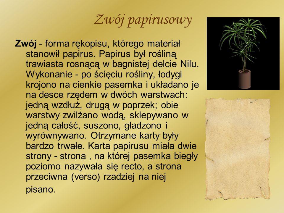 Zwój papirusowy Zwój - forma rękopisu, którego materiał stanowił papirus. Papirus był rośliną trawiasta rosnącą w bagnistej delcie Nilu. Wykonanie - p