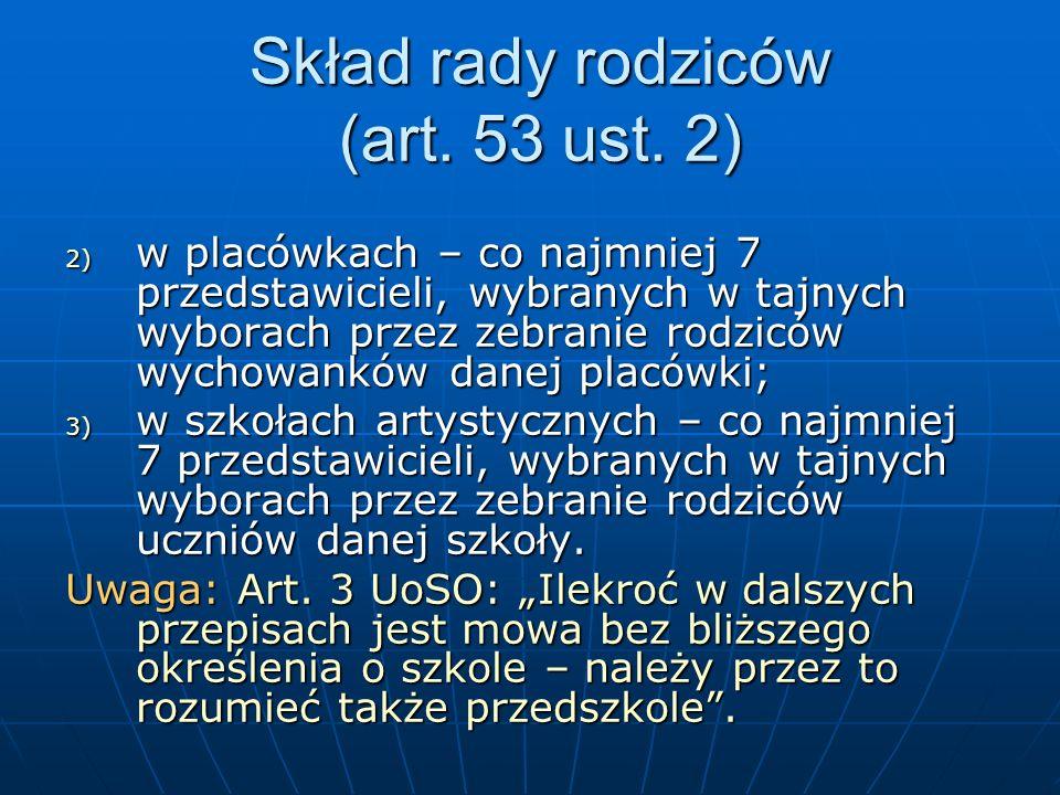 Finanse rady rodziców Art.54 ust.8: Art.54 ust.