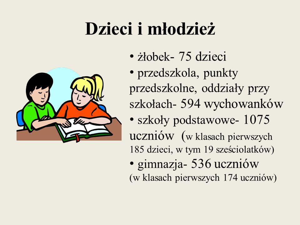 Dzieci i młodzież żłobek - 75 dzieci przedszkola, punkty przedszkolne, oddziały przy szkołach- 594 wychowanków szkoły podstawowe- 1075 uczniów ( w kla