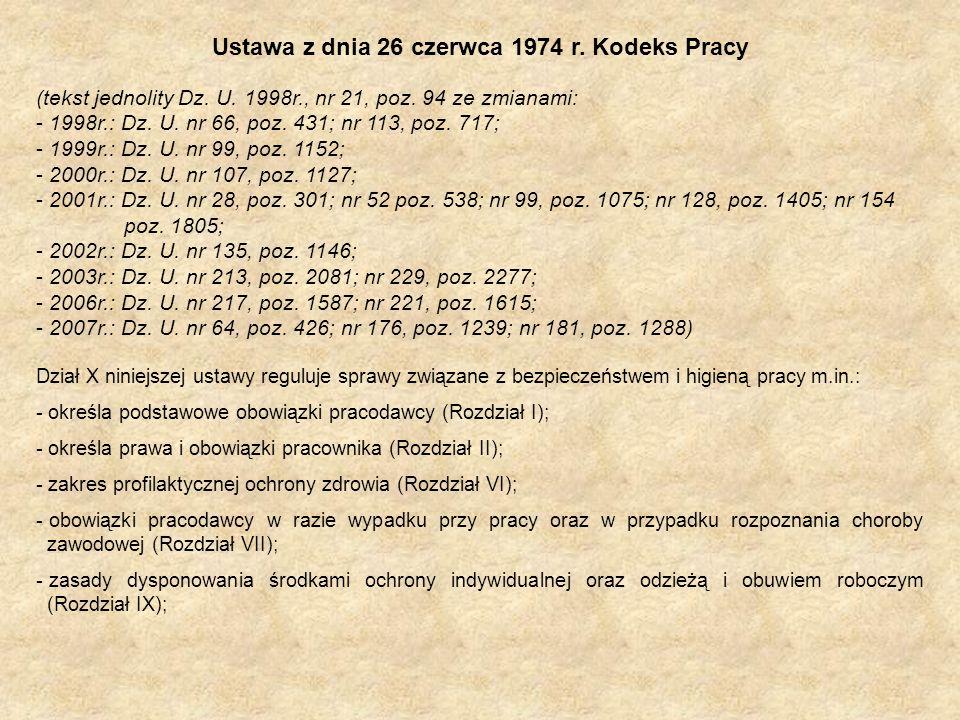 Ustawa z dnia 26 czerwca 1974 r. Kodeks Pracy (tekst jednolity Dz. U. 1998r., nr 21, poz. 94 ze zmianami: - 1998r.: Dz. U. nr 66, poz. 431; nr 113, po