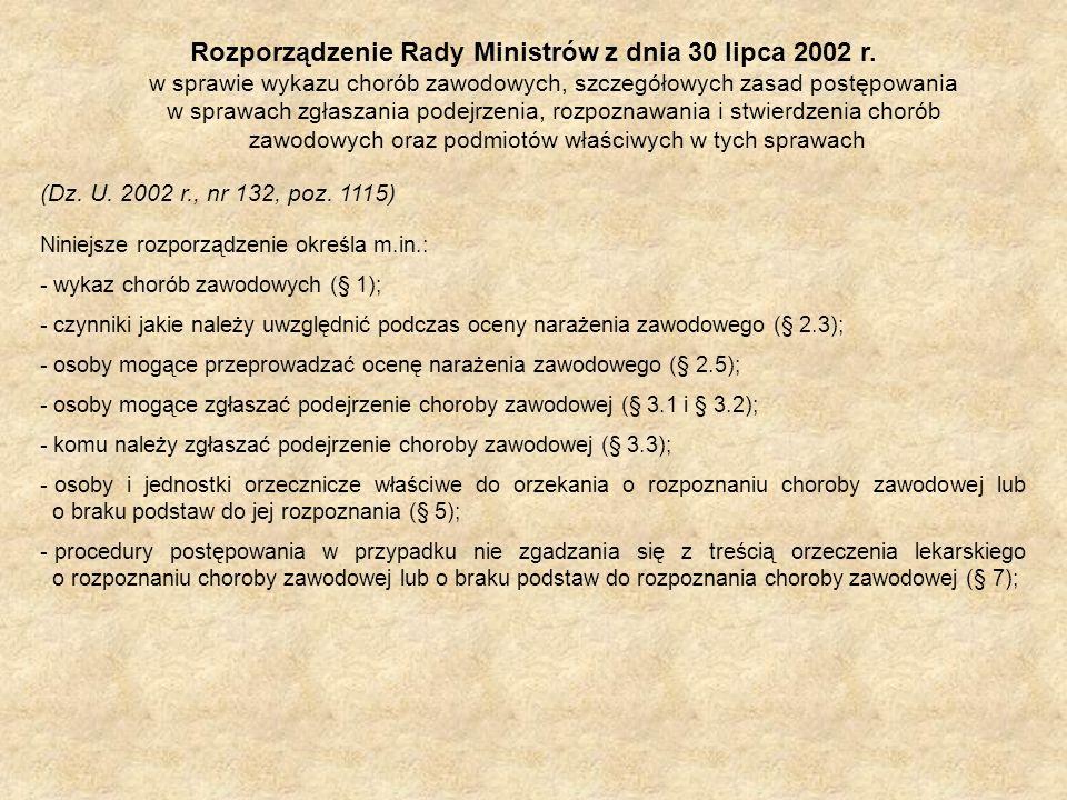 Rozporządzenie Rady Ministrów z dnia 30 lipca 2002 r. w sprawie wykazu chorób zawodowych, szczegółowych zasad postępowania w sprawach zgłaszania podej