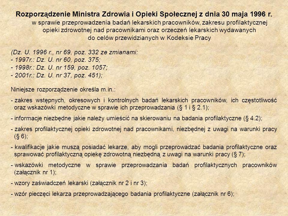 Rozporządzenie Ministra Zdrowia i Opieki Społecznej z dnia 30 maja 1996 r. w sprawie przeprowadzenia badań lekarskich pracowników, zakresu profilaktyc