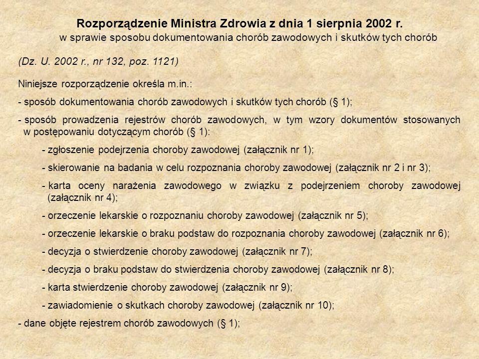 Rozporządzenie Ministra Zdrowia z dnia 1 sierpnia 2002 r. w sprawie sposobu dokumentowania chorób zawodowych i skutków tych chorób (Dz. U. 2002 r., nr