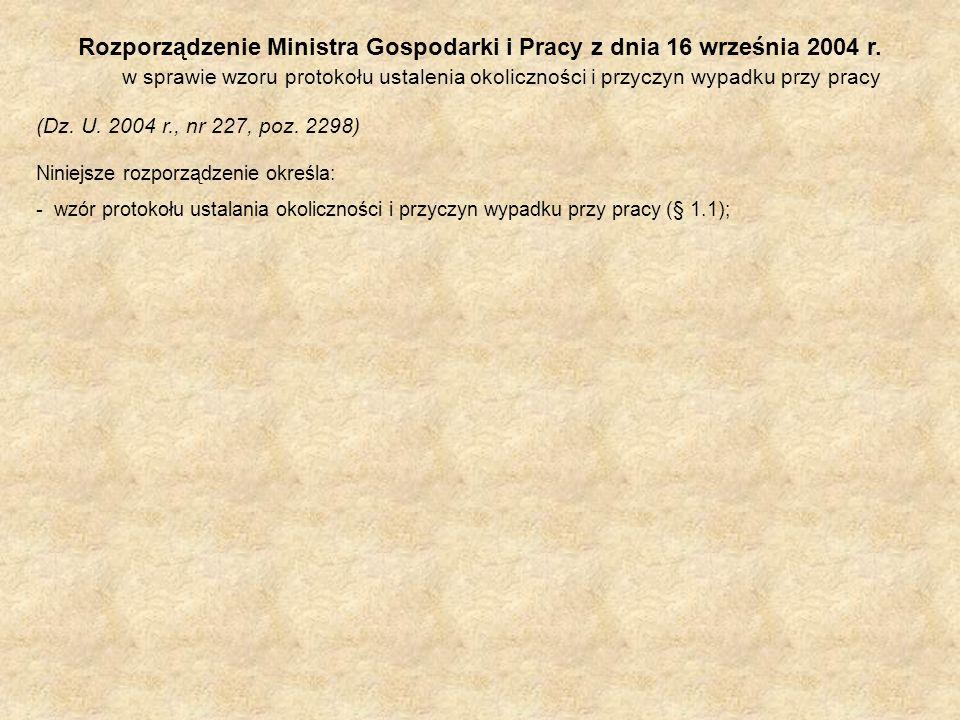 Rozporządzenie Ministra Gospodarki i Pracy z dnia 16 września 2004 r. w sprawie wzoru protokołu ustalenia okoliczności i przyczyn wypadku przy pracy (