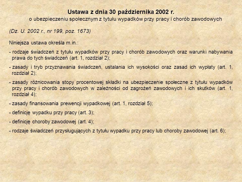Ustawa z dnia 30 października 2002 r. o ubezpieczeniu społecznym z tytułu wypadków przy pracy i chorób zawodowych (Dz. U. 2002 r., nr 199, poz. 1673)