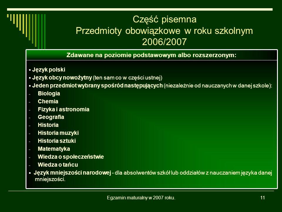 Egzamin maturalny w 2007 roku.11 Część pisemna Przedmioty obowiązkowe w roku szkolnym 2006/2007 Język polski Język obcy nowożytny (ten sam co w części