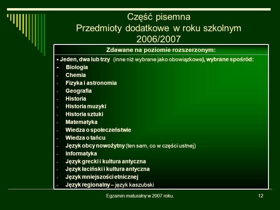 Egzamin maturalny w 2007 roku.12 Część pisemna Przedmioty dodatkowe w roku szkolnym 2006/2007 Jeden, dwa lub trzy (inne niż wybrane jako obowiązkowe),