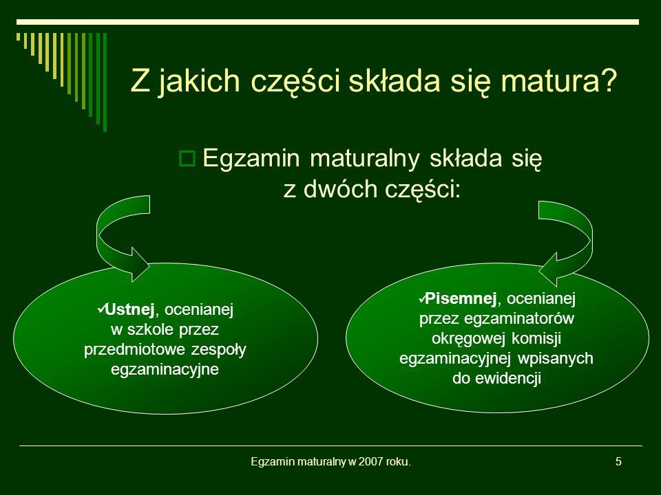 Egzamin maturalny w 2007 roku.6 Część ustna egzaminu maturalnego a) Co się zdaje na maturze ustnej.