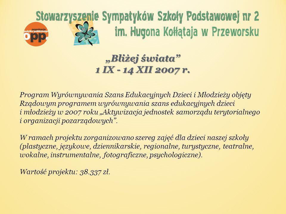 Integracyjne zajęcia teatralne 15 VIII 2008 – 15 III 2009 Projekt wspierany przez Fundację im.
