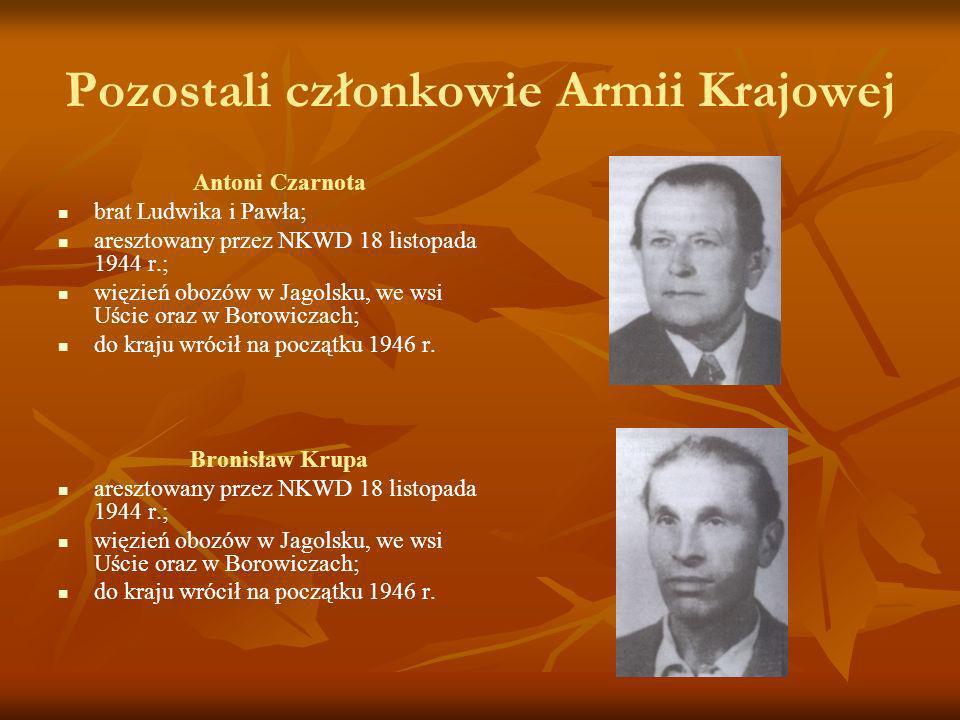 Pozostali członkowie Armii Krajowej Antoni Czarnota brat Ludwika i Pawła; aresztowany przez NKWD 18 listopada 1944 r.; więzień obozów w Jagolsku, we w