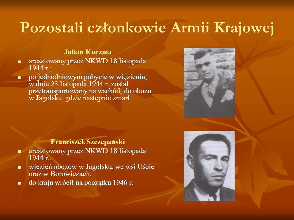 Pozostali członkowie Armii Krajowej Julian Kuczma aresztowany przez NKWD 18 listopada 1944 r.; po jednodniowym pobycie w więzieniu, w dniu 23 listopad