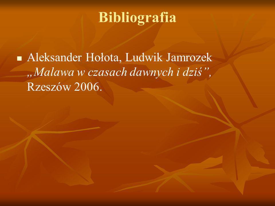 Bibliografia Aleksander Hołota, Ludwik Jamrozek Malawa w czasach dawnych i dziś, Rzeszów 2006.