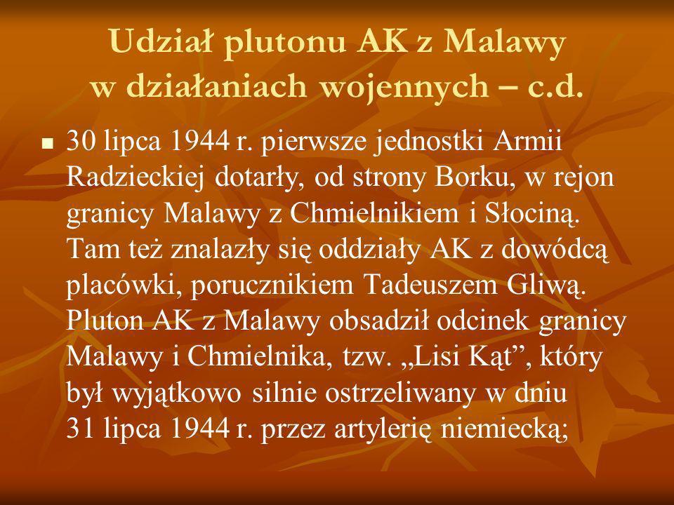 Udział plutonu AK z Malawy w działaniach wojennych – c.d. 30 lipca 1944 r. pierwsze jednostki Armii Radzieckiej dotarły, od strony Borku, w rejon gran