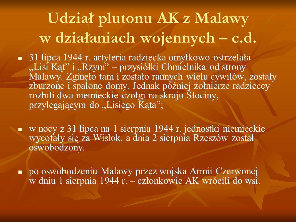 Udział plutonu AK z Malawy w działaniach wojennych – c.d. 31 lipca 1944 r. artyleria radziecka omyłkowo ostrzelała Lisi Kąt i Rzym – przysiółki Chmiel