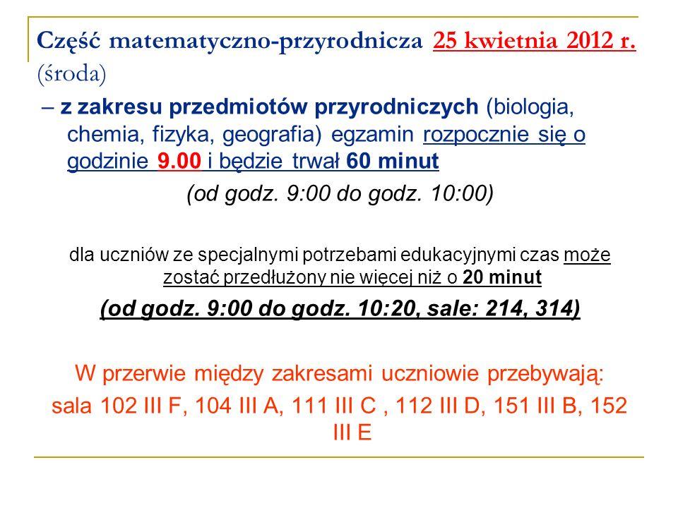 Część matematyczno-przyrodnicza 25 kwietnia 2012 r. (środa) – z zakresu przedmiotów przyrodniczych (biologia, chemia, fizyka, geografia) egzamin rozpo