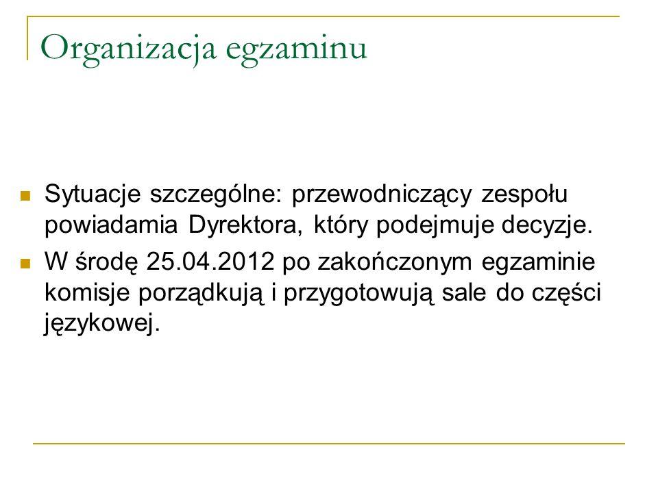 Organizacja egzaminu Sytuacje szczególne: przewodniczący zespołu powiadamia Dyrektora, który podejmuje decyzje. W środę 25.04.2012 po zakończonym egza