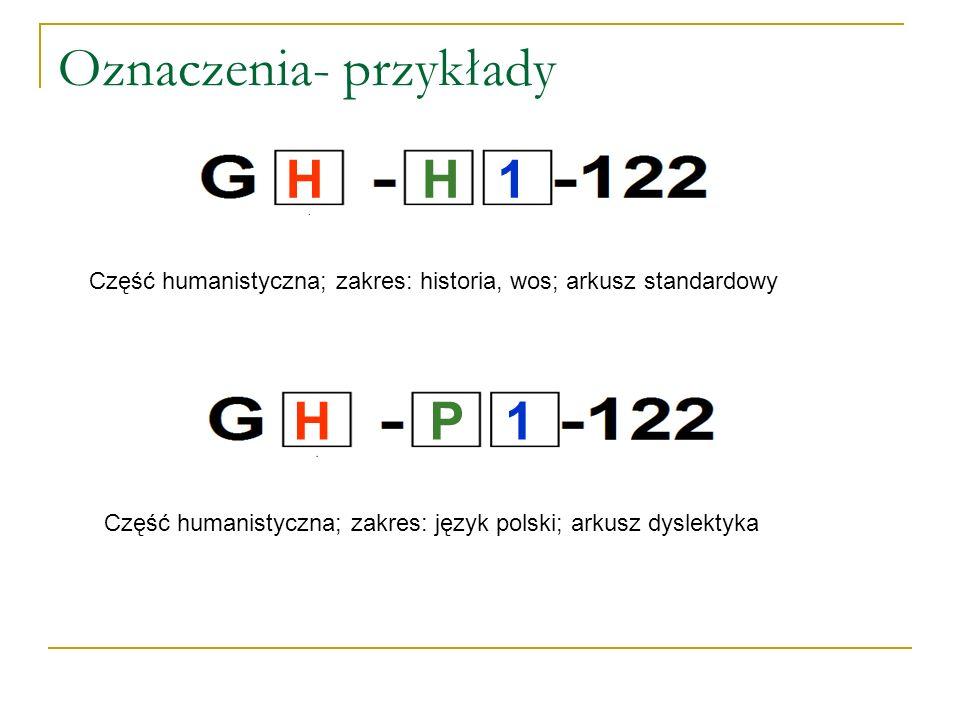 Oznaczenia- przykłady Część humanistyczna; zakres: historia, wos; arkusz standardowy Część humanistyczna; zakres: język polski; arkusz dyslektyka H H