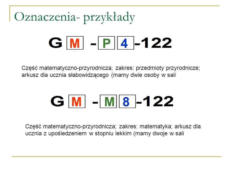 Oznaczenia- przykłady Część matematyczno-przyrodnicza; zakres: przedmioty przyrodnicze; arkusz dla ucznia słabowidzącego (mamy dwie osoby w sali Część