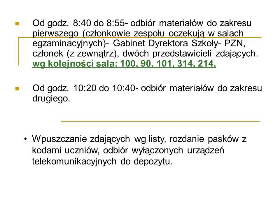 Od godz. 8:40 do 8:55- odbiór materiałów do zakresu pierwszego (członkowie zespołu oczekują w salach egzaminacyjnych)- Gabinet Dyrektora Szkoły- PZN,