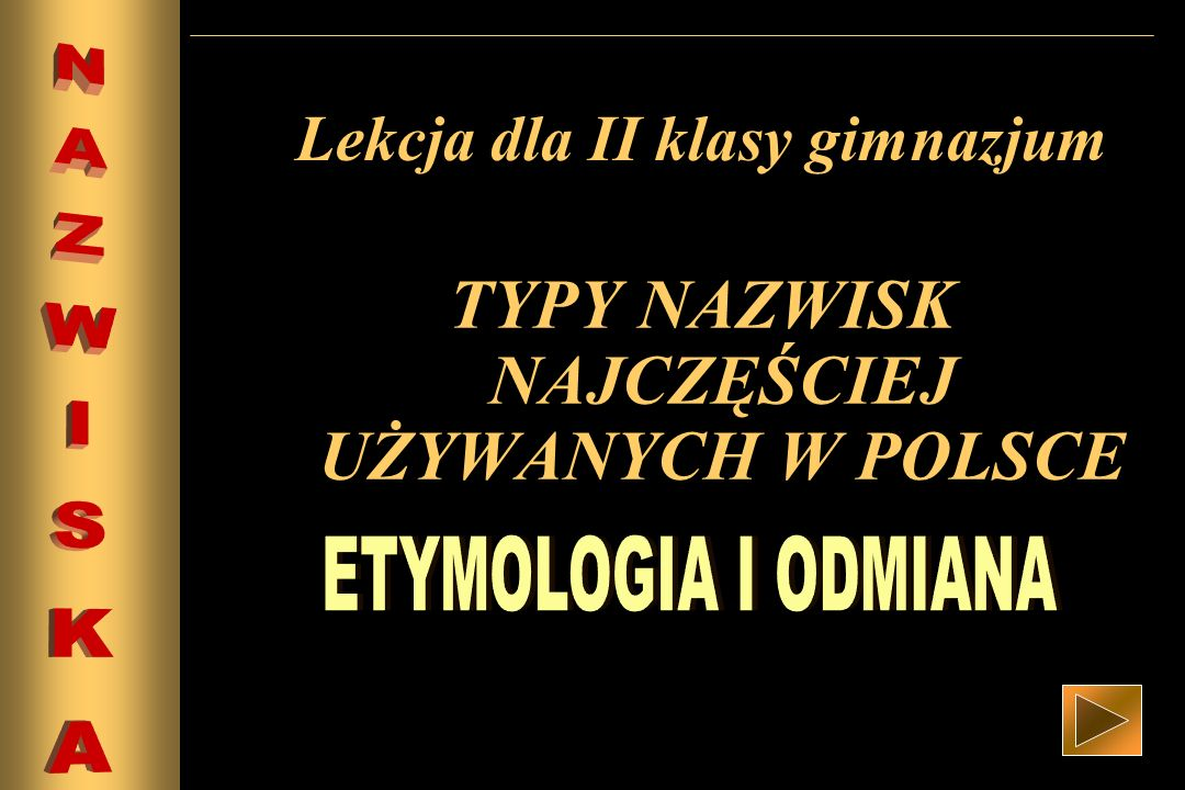Lekcja dla II klasy gimnazjum TYPY NAZWISK NAJCZĘŚCIEJ UŻYWANYCH W POLSCE