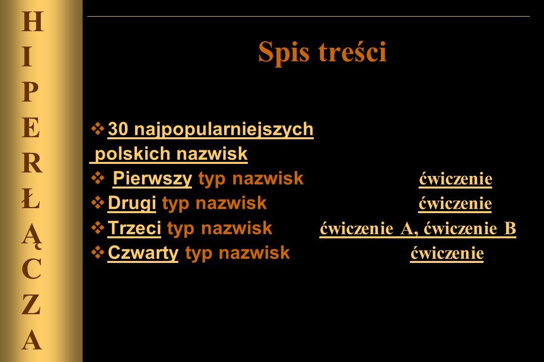30 najpopularniejszych polskich nazwisk Pierwszy typ nazwisk ćwiczeniePierwszy ćwiczenie Drugi typ nazwisk ćwiczenie Drugi ćwiczenie Trzeci typ nazwis