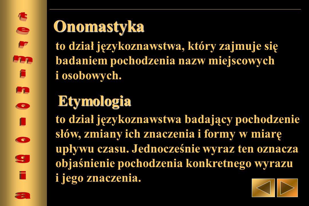 to dział językoznawstwa, który zajmuje się badaniem pochodzenia nazw miejscowych i osobowych. Onomastyka Etymologia to dział językoznawstwa badający p