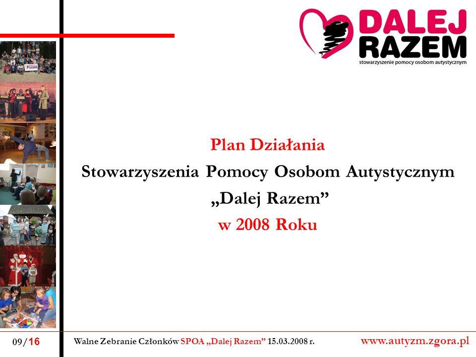 Plan Działania Stowarzyszenia Pomocy Osobom Autystycznym Dalej Razem w 2008 Roku Walne Zebranie Członków SPOA Dalej Razem 15.03.2008 r. www.autyzm.zgo
