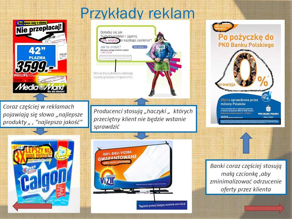 Przykłady reklam Banki coraz częściej stosują małą czcionkę,aby zminimalizować odrzucenie oferty przez klienta Coraz częściej w reklamach pojawiają si