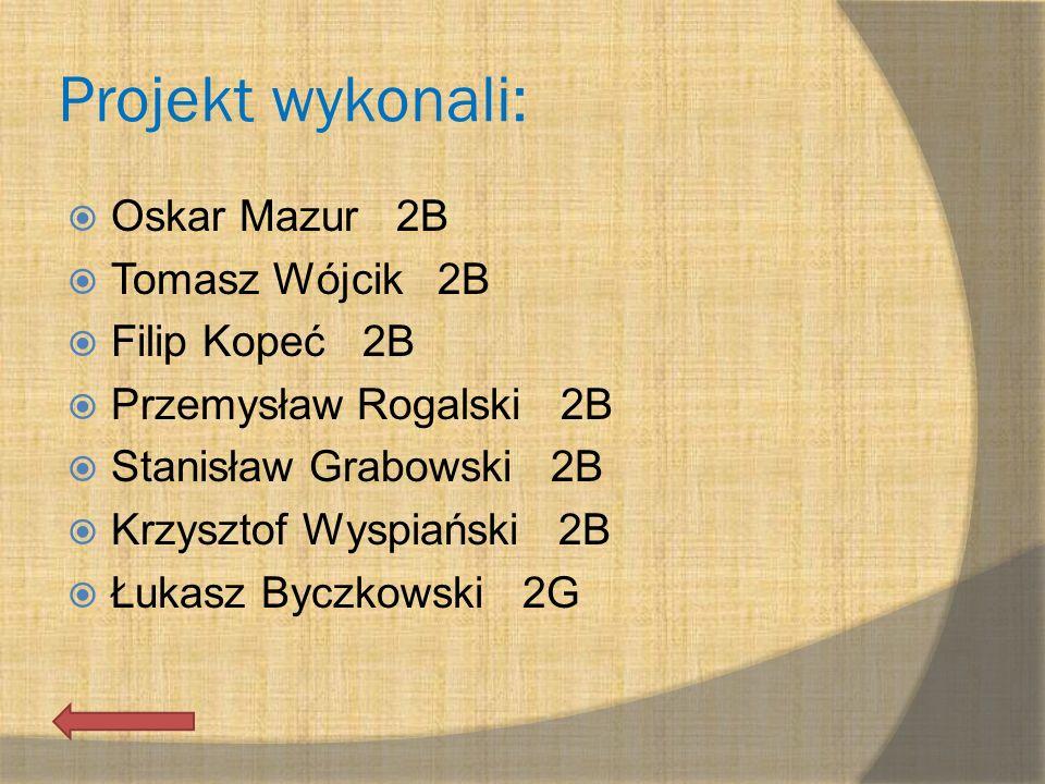 Projekt wykonali: Oskar Mazur 2B Tomasz Wójcik 2B Filip Kopeć 2B Przemysław Rogalski 2B Stanisław Grabowski 2B Krzysztof Wyspiański 2B Łukasz Byczkows
