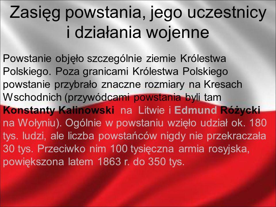 Powstanie objęło szczególnie ziemie Królestwa Polskiego. Poza granicami Królestwa Polskiego powstanie przybrało znaczne rozmiary na Kresach Wschodnich