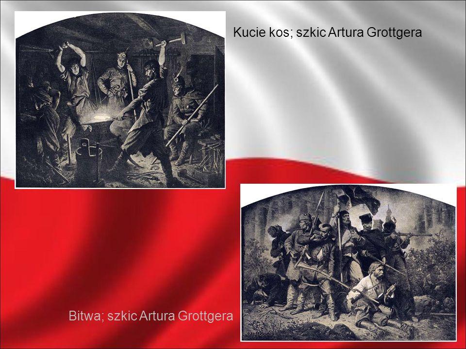 Bitwa; szkic Artura Grottgera Kucie kos; szkic Artura Grottgera