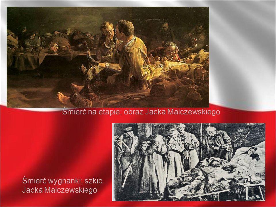 Śmierć na etapie; obraz Jacka Malczewskiego Śmierć wygnanki; szkic Jacka Malczewskiego