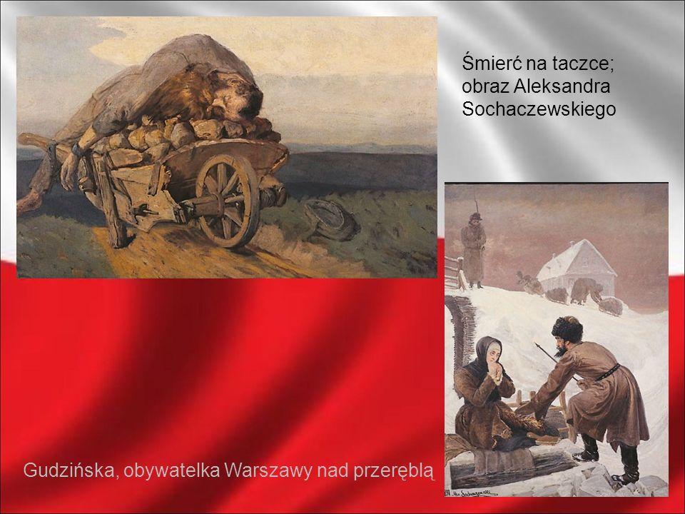 Śmierć na taczce; obraz Aleksandra Sochaczewskiego Gudzińska, obywatelka Warszawy nad przeręblą