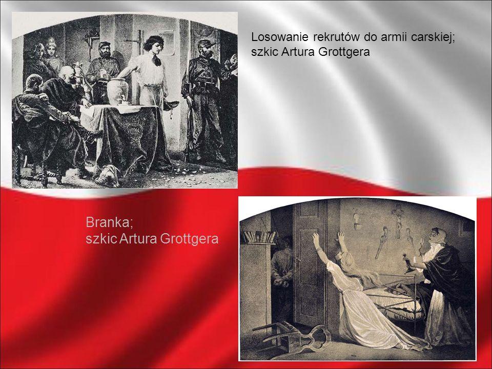 Losowanie rekrutów do armii carskiej; szkic Artura Grottgera Branka; szkic Artura Grottgera