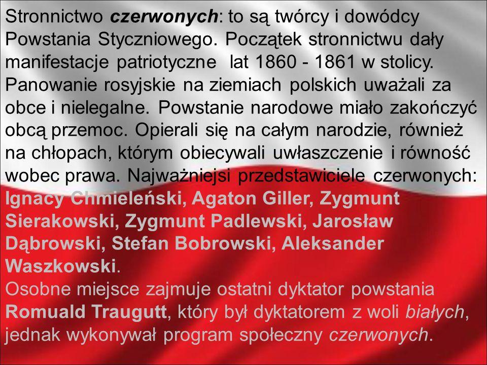 Stronnictwo czerwonych: to są twórcy i dowódcy Powstania Styczniowego. Początek stronnictwu dały manifestacje patriotyczne lat 1860 - 1861 w stolicy.