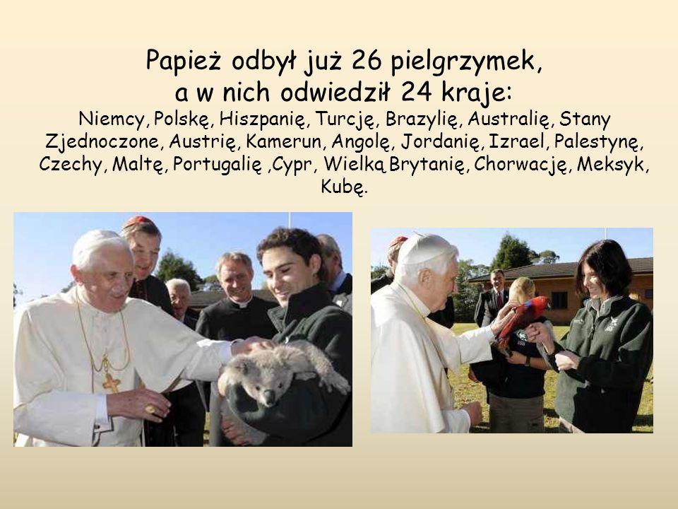 Papież odbył już 26 pielgrzymek, a w nich odwiedził 24 kraje: Niemcy, Polskę, Hiszpanię, Turcję, Brazylię, Australię, Stany Zjednoczone, Austrię, Kame
