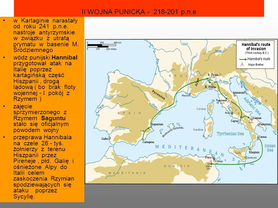 II WOJNA PUNICKA - 218-201 p.n.e w Kartaginie narastały od roku 241 p.n.e. nastroje antyrzymskie w związku z utratą prymatu w basenie M. Śródziemnego