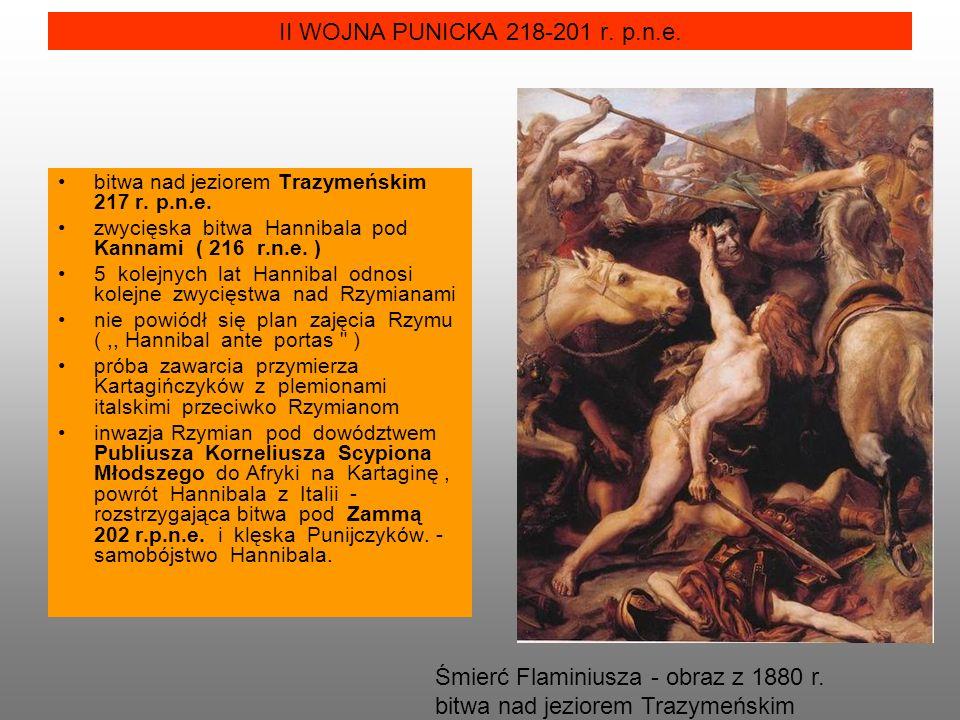 II WOJNA PUNICKA 218-201 r. p.n.e. bitwa nad jeziorem Trazymeńskim 217 r. p.n.e. zwycięska bitwa Hannibala pod Kannami ( 216 r.n.e. ) 5 kolejnych lat