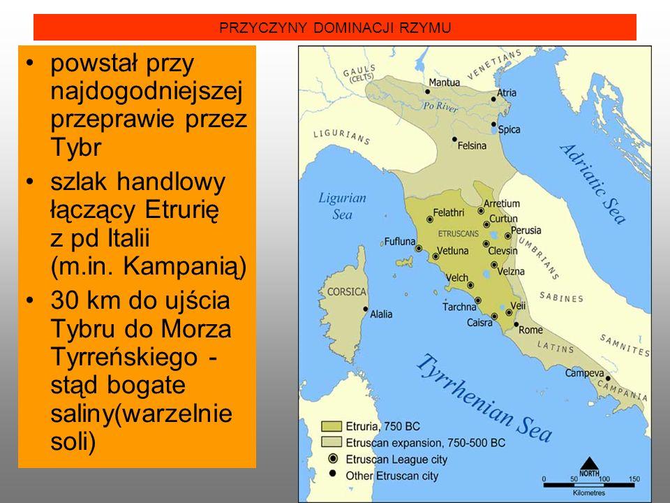 PRZYCZYNY DOMINACJI RZYMU powstał przy najdogodniejszej przeprawie przez Tybr szlak handlowy łączący Etrurię z pd Italii (m.in. Kampanią) 30 km do ujś