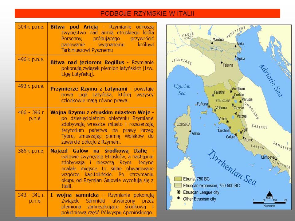 PODBOJE RZYMSKIE W ITALII 504 r. p.n.e. Bitwa pod Aricją - Rzymianie odnoszą zwycięstwo nad armią etruskiego króla Porsenny, próbującego przywrócić pa