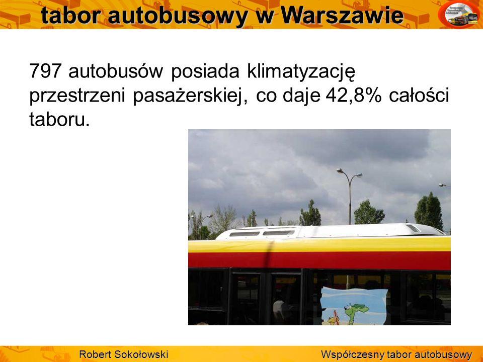 tabor autobusowy w Warszawie 797 autobusów posiada klimatyzację przestrzeni pasażerskiej, co daje 42,8% całości taboru. Robert Sokołowski Współczesny