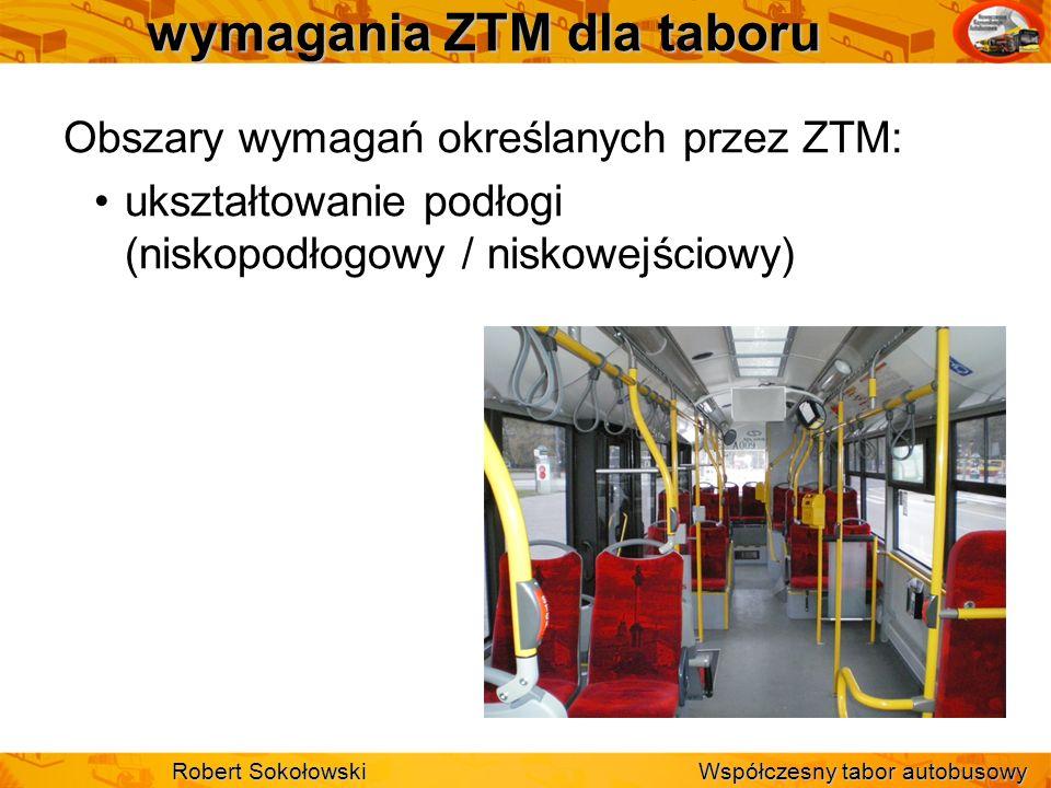 wymagania ZTM dla taboru Obszary wymagań określanych przez ZTM: ukształtowanie podłogi (niskopodłogowy / niskowejściowy) Robert Sokołowski Współczesny