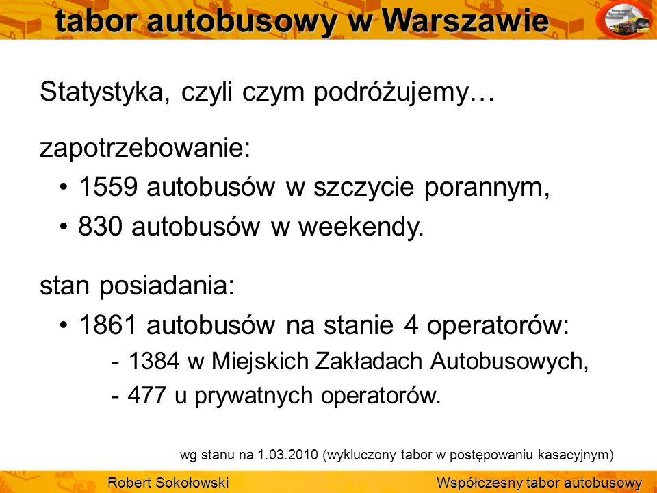 tabor autobusowy w Warszawie Statystyka, czyli czym podróżujemy… zapotrzebowanie: 1559 autobusów w szczycie porannym, 830 autobusów w weekendy. stan p