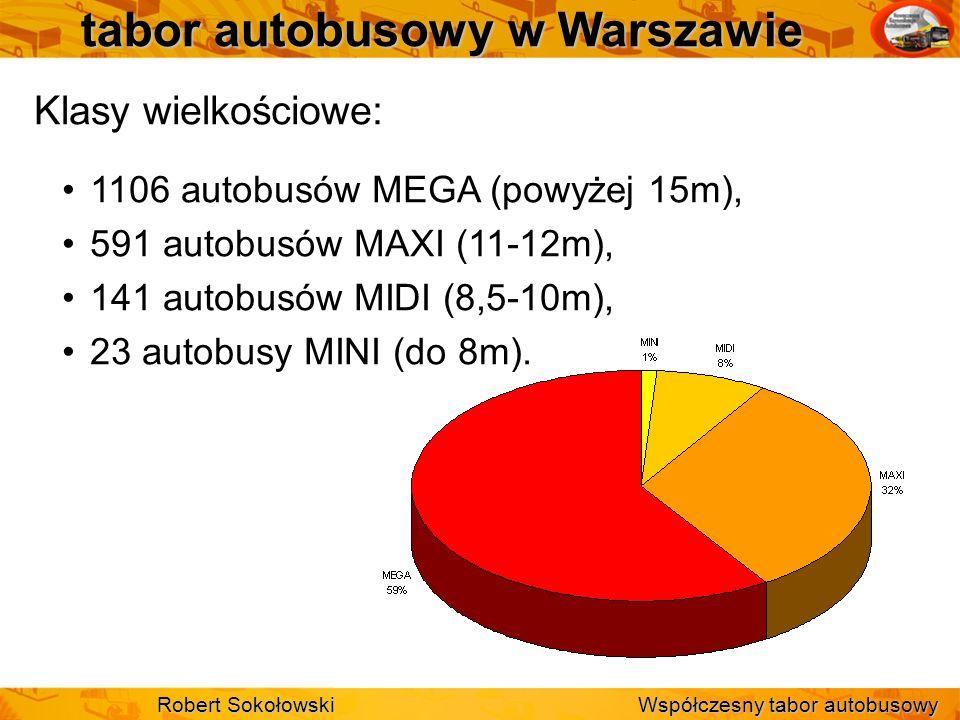 tabor autobusowy w Warszawie Klasy wielkościowe: 1106 autobusów MEGA (powyżej 15m), 591 autobusów MAXI (11-12m), 141 autobusów MIDI (8,5-10m), 23 auto