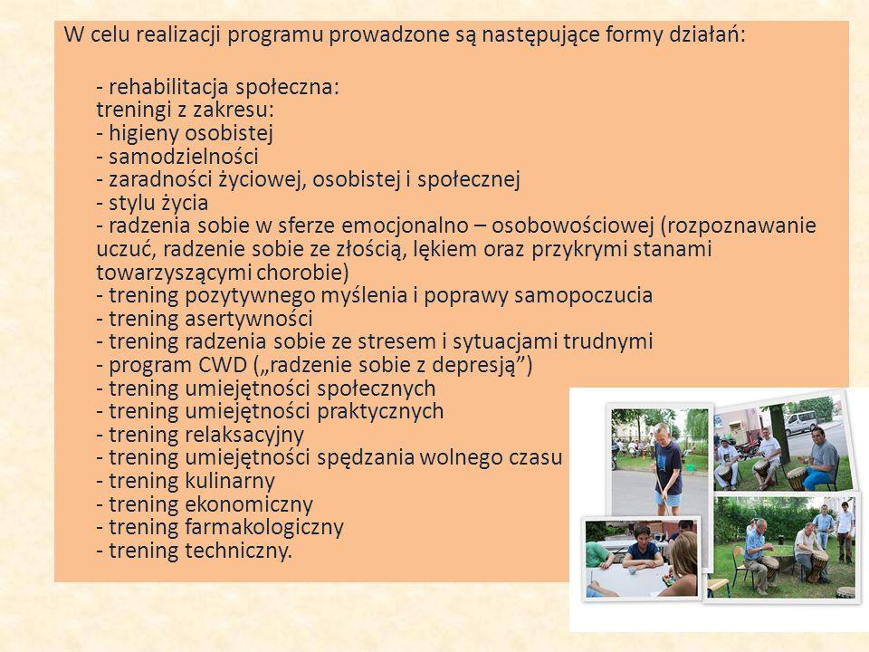W celu realizacji programu prowadzone są następujące formy działań: - rehabilitacja społeczna: treningi z zakresu: - higieny osobistej - samodzielnośc