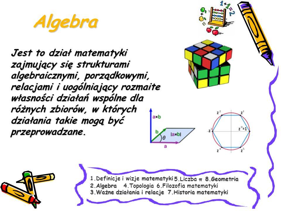 mniejsze lub równe niż = niewiększe niż, większe lub równe niż = niemniejsze nierówności (nieostre, słabe) mniejsze niż, większe niż nierówności (ostre, mocne) równa się, jest równość= - splot funkcji, mnożenie Dzielenie,dodać, odjąć, razy, przez dodawanie, odejmowanie, mnożenie, dzielenie CzytanieZnaczenieSymbol Ważne działania i relacje matematyki 1.Definicje i wizje matematyki 2.Algebra 3.Ważne działania i relacje 3.Ważne działania i relacje 8.Geometria 4.Topologia6.Filozofia matematyki 5.Liczba π 7.Historia matematyki 7.Historia matematyki