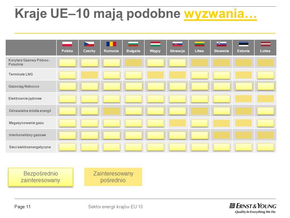Sektor energii krajów EU 10Page 11 Kraje UE–10 mają podobne wyzwania…