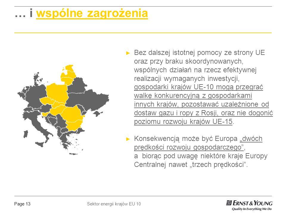 Sektor energii krajów EU 10Page 13 … i wspólne zagrożenia Bez dalszej istotnej pomocy ze strony UE oraz przy braku skoordynowanych, wspólnych działań na rzecz efektywnej realizacji wymaganych inwestycji, gospodarki krajów UE-10 mogą przegrać walkę konkurencyjną z gospodarkami innych krajów, pozostawać uzależnione od dostaw gazu i ropy z Rosji, oraz nie dogonić poziomu rozwoju krajów UE-15.