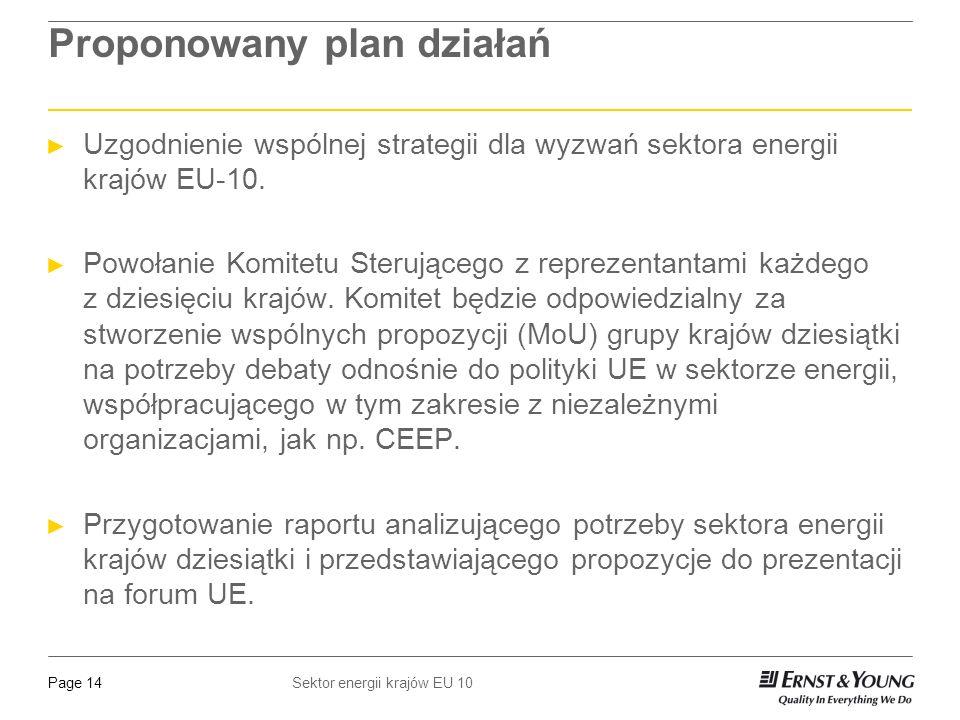 Sektor energii krajów EU 10Page 14 Proponowany plan działań Uzgodnienie wspólnej strategii dla wyzwań sektora energii krajów EU-10.